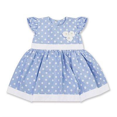Vestido Baby Poá Azul Bebê