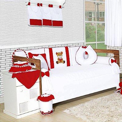 Kit Cama Babá Ursa Cupcake Vermelho