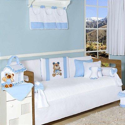 Kit Cama Babá Urso Luiz Azul Bebê