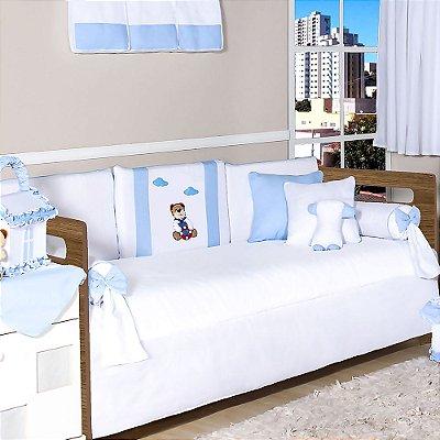 Kit Cama Babá Urso Marinheiro Azul Bebê