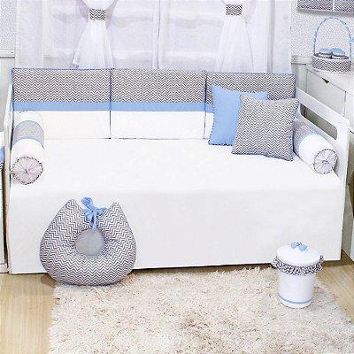 Kit Cama Babá Chevron Azul Bebê