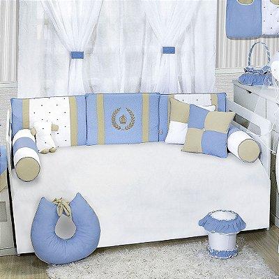 Kit Cama Babá Coroa Luxo Azul Bebê