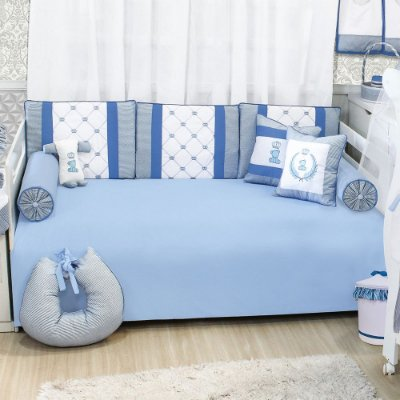 Kit Cama Babá Clássico Azul Bebê