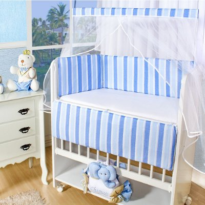 Kit Mini Berço Rubi 6 Peças Listradão Azul Bebê