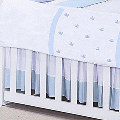 Saia de Berço Com a Inicial do Bebê Bordada Azul Bebê