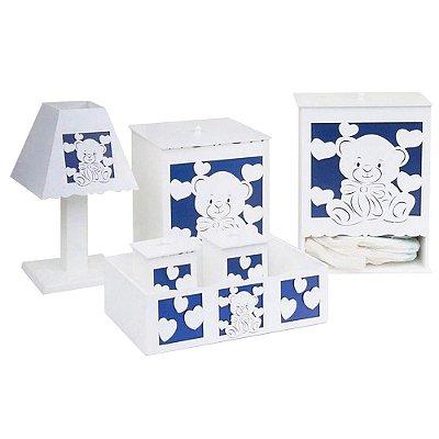 Kit Higiene Love Baby Marinho Mdf