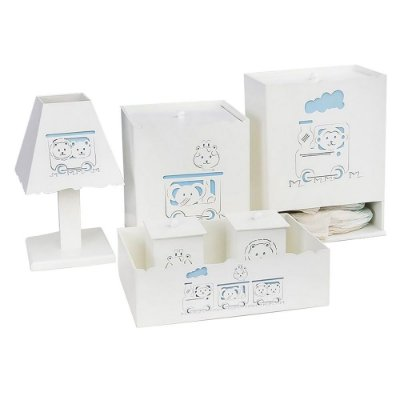 Kit Higiene Trenzinho Azul Mdf