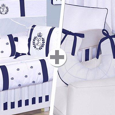 Combo Confort  Com a Inicial do Bebê Azul Marinho