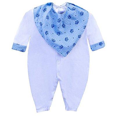 Macacão Para Bebê Coroa Azul