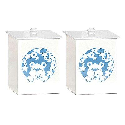 Conjunto De Potes Urso Nas Estrelas Azul Mdf