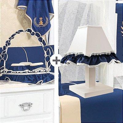 Kit Acessórios Com A Inicial Do Bebê Luxo Azul Marinho 5 Peças