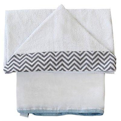 Toalha de Banho Com Capuz Chevron Azul Bebê