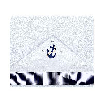 Toalha De Banho Com Capuz Marinheiro Azul 2 Peças
