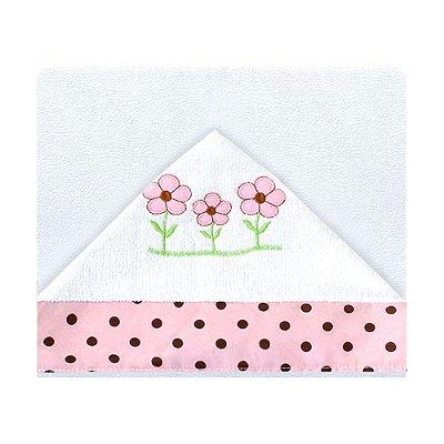 Toalha De Banho Com Capuz Ursa Butterfly Rosa
