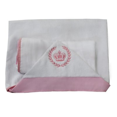 Toalha De Banho com Capuz Coroa Rosa