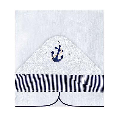 Toalha Fralda Com Capuz Marinheiro Azul