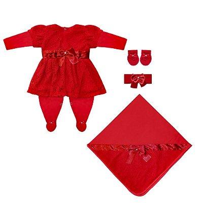 Saída Maternidade Proteção Vermelha 4 Peças