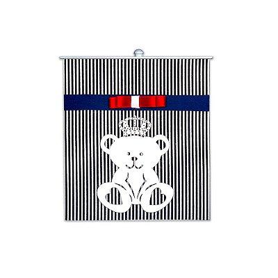 Lixeira Urso Rei Marinho Listrado Mdf