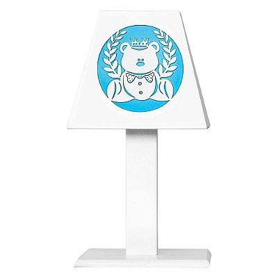 Abajur Urso Rei Azul Bebê Mdf