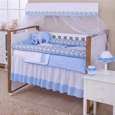 Kit Berço Rolinho Elefante Azul Bebê 11 Peças - ENVIO IMEDIATO