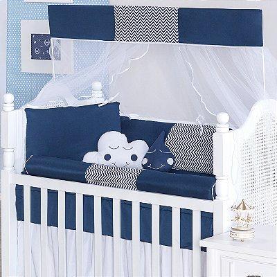 Kit Berço Rolinho Sonho Encantado Azul Marinho 10 Peças - ENVIO IMEDIATO
