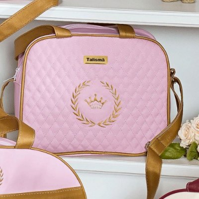 Bolsa Maternidade Puppi Rosa Com Dourado P