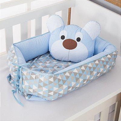Ninho Redutor de Berço Urso Dengoso Azul Bebê 2 Peças