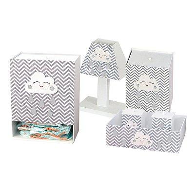 Kit Higiene Nuvem Cinza Mdf
