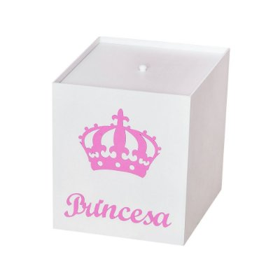 Lixeira Princesa Ursa Rosa Mdf