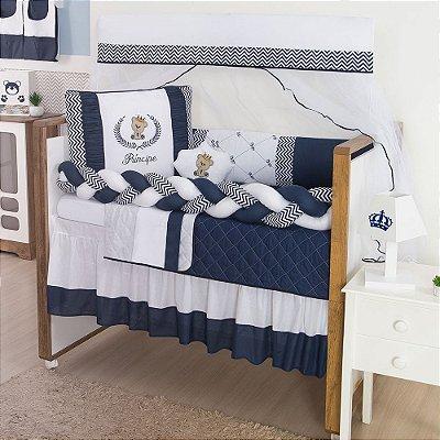 Kit Berço Trança Príncipe Urso Azul Marinho 10 Peças