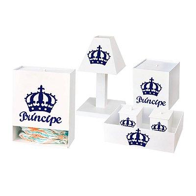 Kit Higiene Príncipe Urso Azul Marinho Mdf