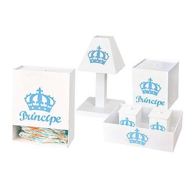 Kit Higiene Príncipe Urso Azul Bebê Mdf