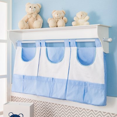 Porta Fralda de Parede Urso Dengoso Azul Bebê