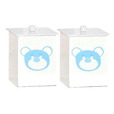 Conjunto De Potes Urso Dengoso Azul Bebê Mdf