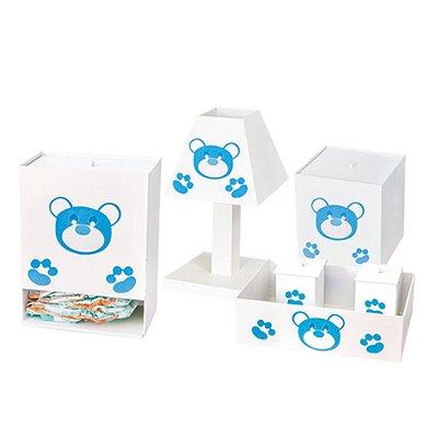 Kit Higiene Urso Dengoso Azul Bebê Mdf