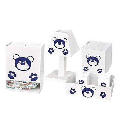 Kit Higiene Urso Imperial Azul Marinho Mdf