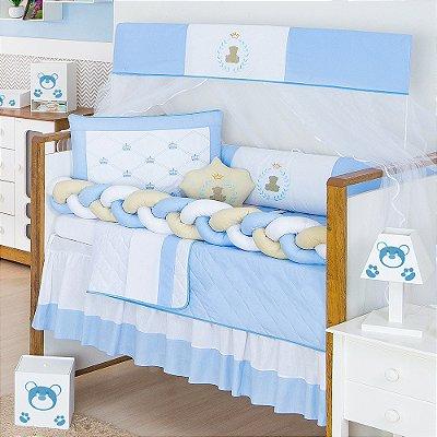 Kit Berço Trança Urso Teddy Azul Bebê