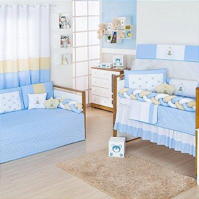 Quarto Completo Trança Urso Teddy Azul Bebê