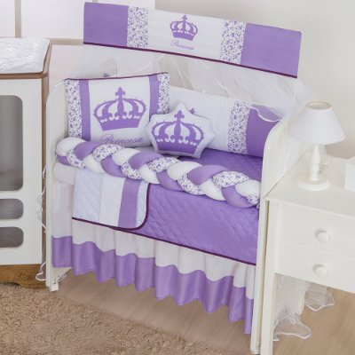 Kit Mini Berço Trança Imperial Princesa Lilás