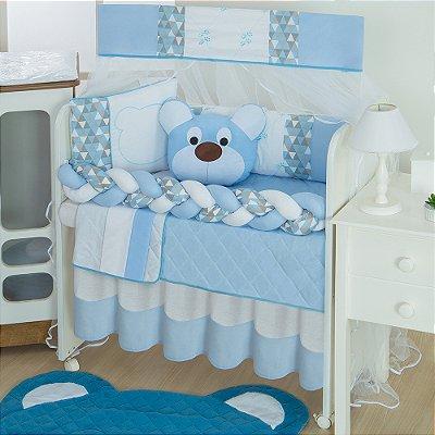 Kit Mini Berço Trança Urso Dengoso Azul Bebê