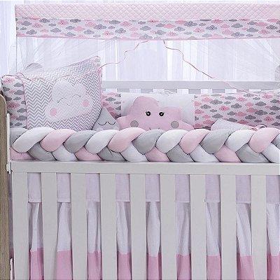 Kit Berço Trança Star Chuvinha Rosa