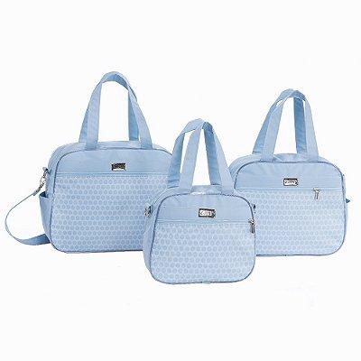 Conjunto de Bolsas Poá Azul Bebê 3 Peças