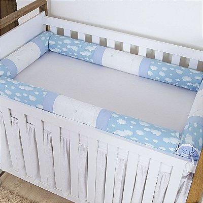 Kit Berço Rolinho Nuvem Kids Azul 5 Peças