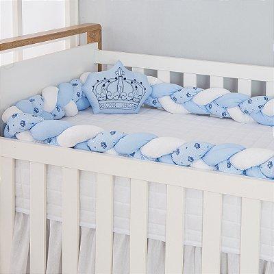 Kit Trança para Berço Coroa Azul Bebê 2 Peças