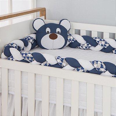 Kit Trança para Berço Urso Dengoso Azul Marinho 2 Peças