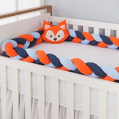 Kit Trança para Berço Raposinha com Azul Bebê 2 Peças