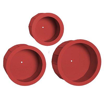 Kit de Nichos Redondos de Madeira Vermelho 3 Peças MDF