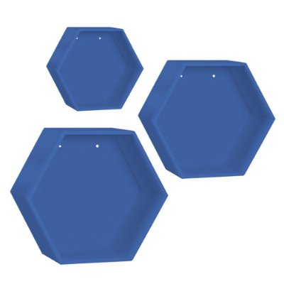 Kit de Nichos Colmeia Azul Marinho 3 Peças MDF