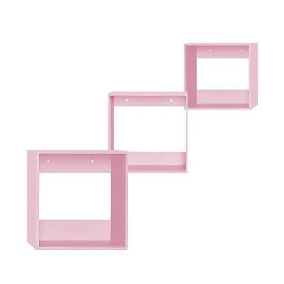 Kit de Nichos Quadrado Rosa 3 Peças MDF