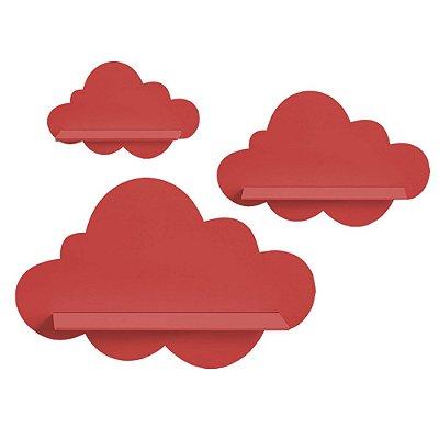 Kit de Prateleiras Nuvem Vermelha MDF